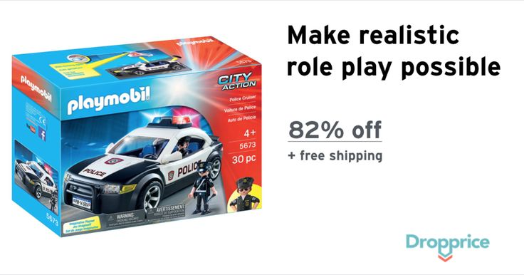 "Help me drop the price of the PLAYMOBIL Police Cruiser Playset to $4.99 (82% off). The price continues dropping as more moms click ""Drop the price"". Moms drop prices of kids & baby products by sharing them with each other."