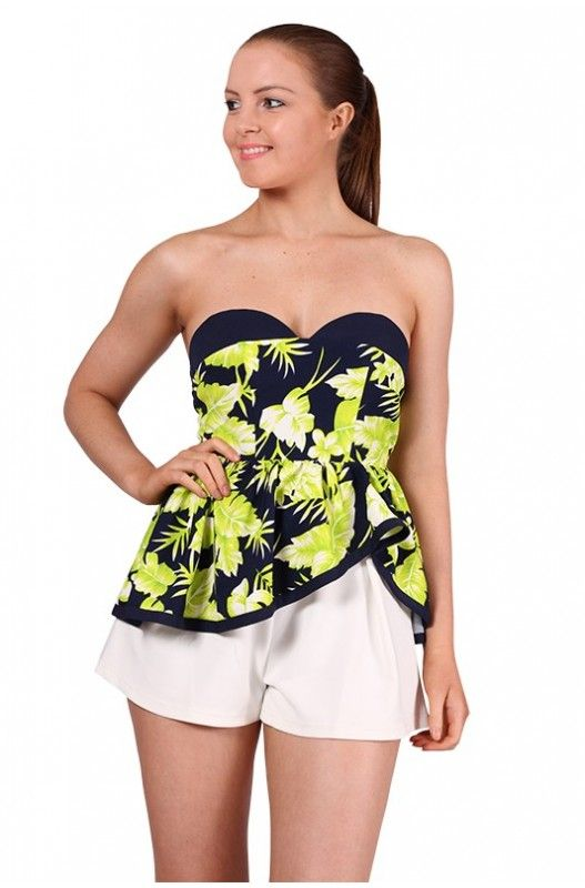 Tropicana Strapless Top- Gorgeous printed strapless top! Peplum type hemline! Detachable straps included! Shop Now!