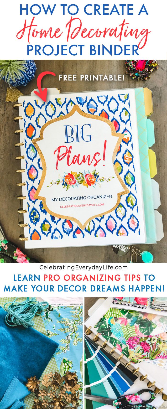 How to Create a Home Decorating Project Binder, Learn Pro Tips to Make Your Decor Dreams Happen + get a Free Printable for Your Own Home Decor Binder!  How to Decorate via @jencarrollva
