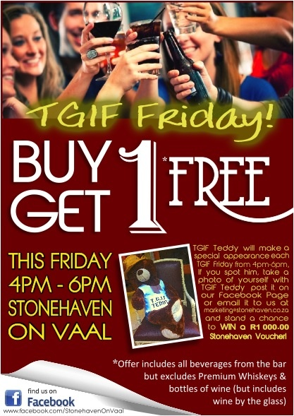 TGIF Fridays Specials - buy 1 get another 1 free between 4pm and 6pm every friday!