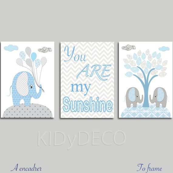 Decoration room boy baby elephants blue and gray. by KidYDeco