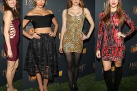 """Who wore it best?   The votes are in ….  Maitland Ward in a Mark Wong Nark animal print Couture Bodycon Dress did at The Hobbit: The Desolation of Smaug"""" Mobile Game Launch Party at Eveleigh in West Hollywood.  Get this dresses at EyeCandyCouture.com  $625.00 http://eyecandycouture.com/product/mark-wong-nark-cheetah-bodycon"""