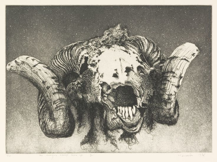 Barry Cleavin, The hungry sheep look up– the final solution (2) 1996. Etching. Collection of Christchurch Art Gallery Te Puna o Waiwhetu 1999. Reproduced courtesy of Barry Cleavin