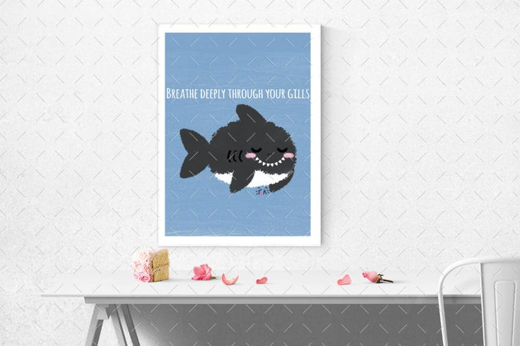 Excited to share the latest addition to my #etsy shop: Breathe In Through Your Gills Kawaii Shark Puns - Printable Wall Art with Multiple Sizes by The Blushy Kitten {INSTANT DIGITAL DOWNLOAD}