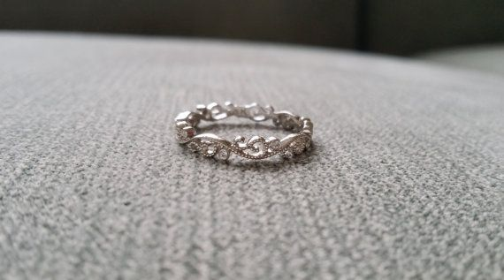 Petite Floral Scroll Diamond Wedding Band Ring by PenelliBelle, $479.00