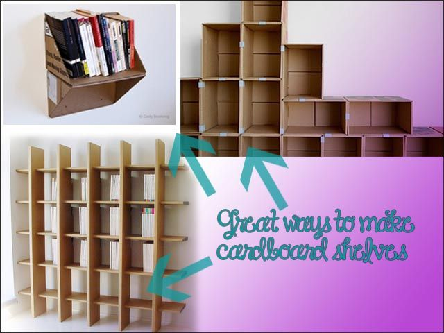 turn cardboard boxes into shelves | Reduce, Reuse, Recycle Our Damn Selves!
