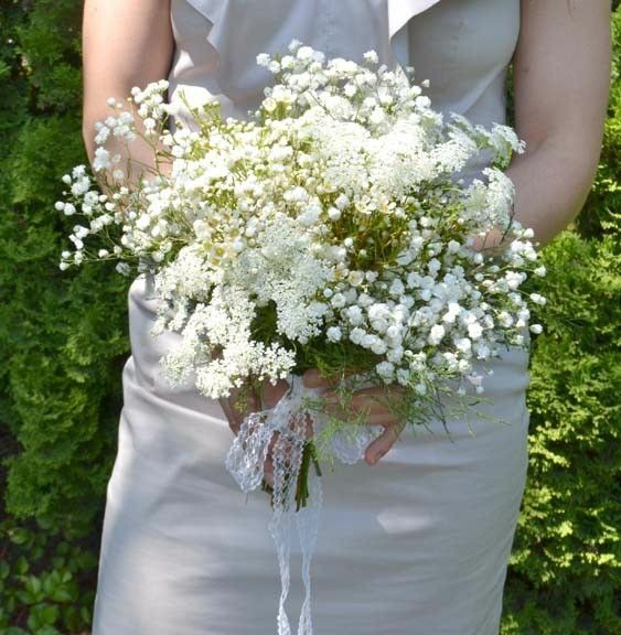 """Rustic """"All White"""" Wedding Bouquet Featuring: Gypsophila (Baby's Breath), Queen Anne's Lace, Waxflower"""