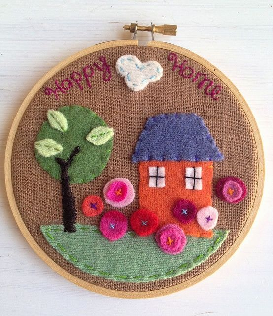 Embroidery hoop felt art