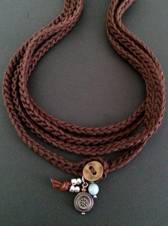 Cotton boho wrap bracelet / charms brown cuff bracelet