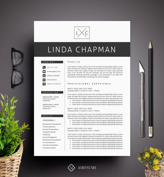 professional resume template cv template cover letter creative and modern resume teacher - Words Resume Template