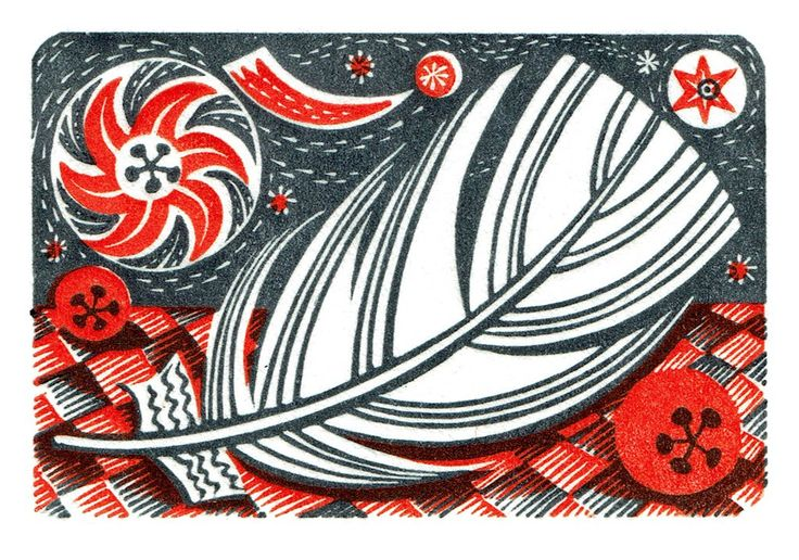 Angie Lewin - Star and Feather - wood engraving
