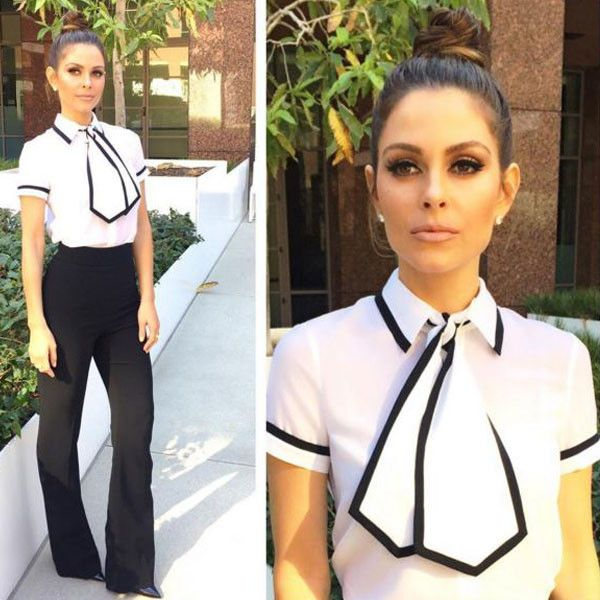 """Maria Menounos from E! News Look of the Day  """"Today's @enews look Shirt: @aliceandoliviaPants: @cushnieetochsShoes: @louboutinworldRing: @luvajStyling by @dborregostyle hair by me! And makeup @nikimetzzz"""""""