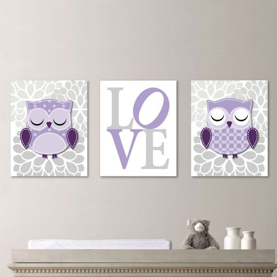 Whimsy Hoot Owl Love Trio  Decor Nursery. by RhondavousDesigns2, $20.00