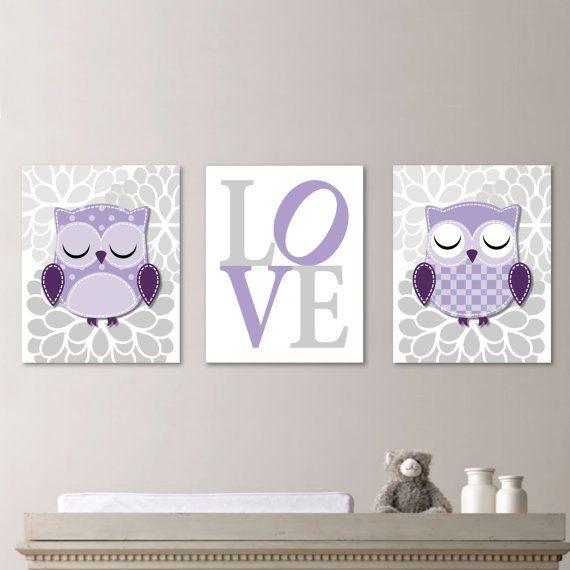 Whimsy Hoot Owl Love Trio  Decor Nursery. by RhondavousDesigns2, $20.00
