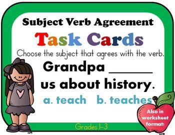40 best l31f subject verb pronoun antecedent agreement images singular and plural nouns with matching verbs subject verb agreement 32 task cards or platinumwayz
