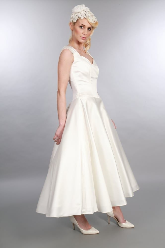 Ivy Tea Length Style Wedding Dress With Capped Sleeves A Vintage Reproduction Calf Perfect For Retro Brides