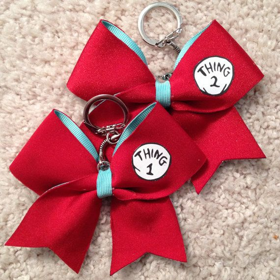 Thing 1 thing 2 cheer bow keychain set on etsy love cute cheer bows cheer bows - Cute cheer bows ...