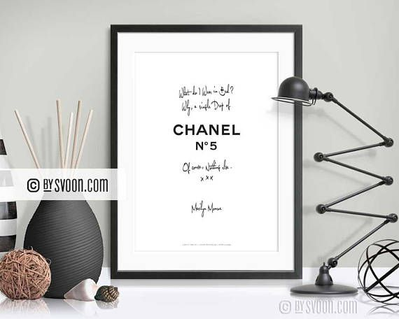 A Drop of Chanel No 5 Print Minimal Wall Decor Typography