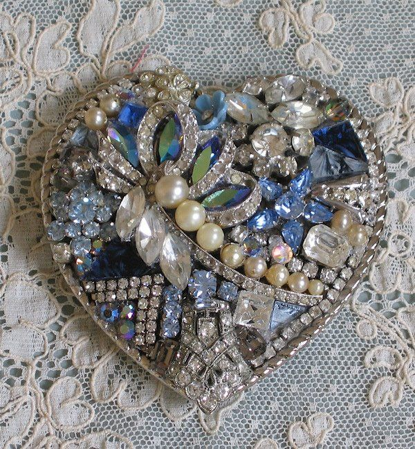 Heart belt buckle made from vintage jewelry