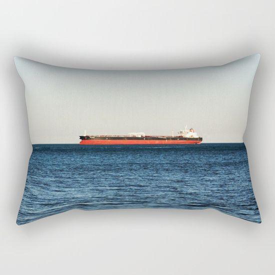 Cargo Ship Seascape Rectangular Pillow