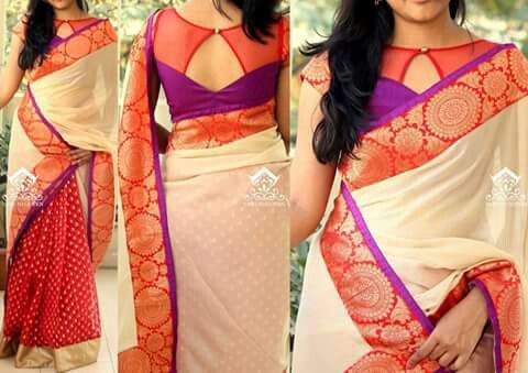 Hint of skin---that's sexy! People go over-board these days with their saree-blouses (back-patterns)and end up looking quite the opposite--tarty! Love this pattern!
