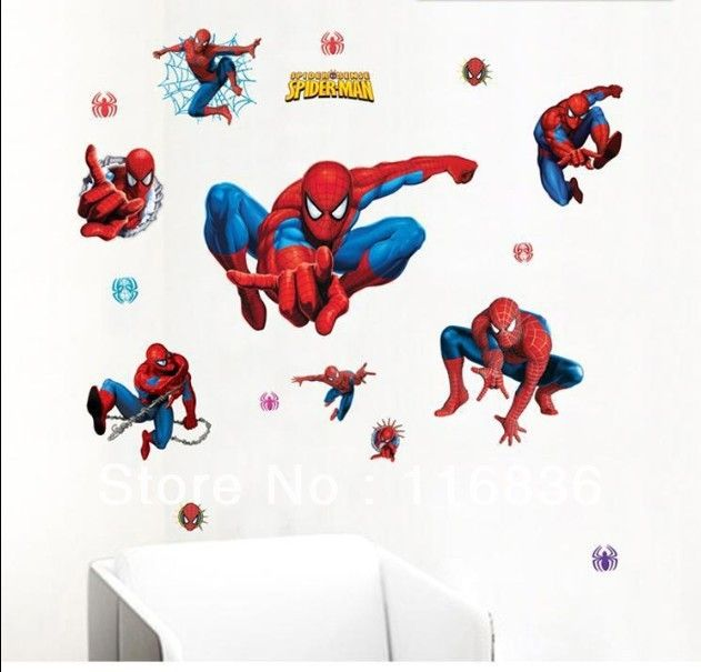 Бесплатная доставка оптовых декоративные большой размер человек паук мультфильм наклейки наклейка на стену для домашнего DIY детской наклейки для детской комнаты
