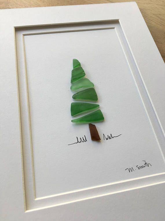 Sea Glass Evergreen Christmas Decor Holiday Tree Etsy Sea Glass Crafts Beach Glass Crafts Sea Glass Art