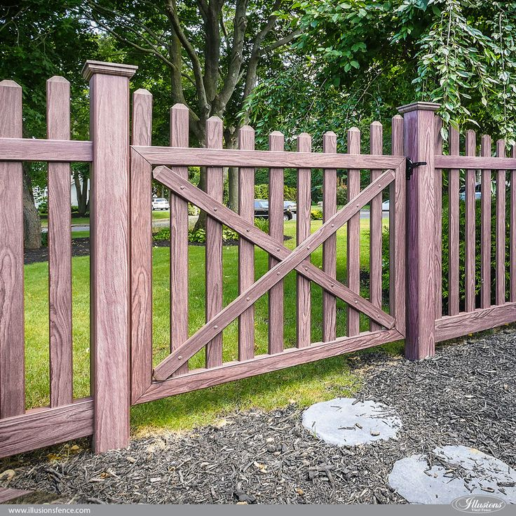Picket Fence Ideas. PVC Vinyl Walnut Wood Grain Picket Fencing Panels and Matching Walk Gate from Illusions Vinyl Fence.