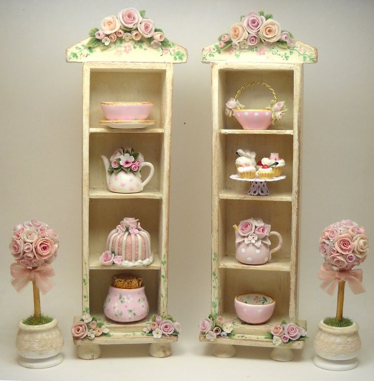 1/12TH scale - shabby chic romantic roses shelf cabinet by Lory.