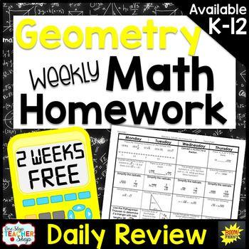 Geometry Homework or Geometry Warm Ups & Bell Ringers FREE