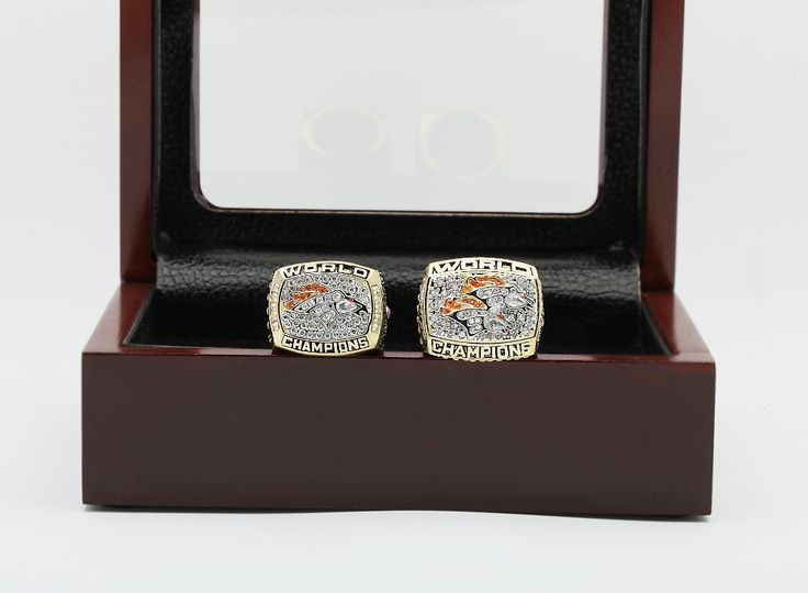 One Set(2pcs) 1997 1998 Denver Broncos Super Bowl Football Championship Ring Size 10-13 With High Quality Wooden Box Fans Gift
