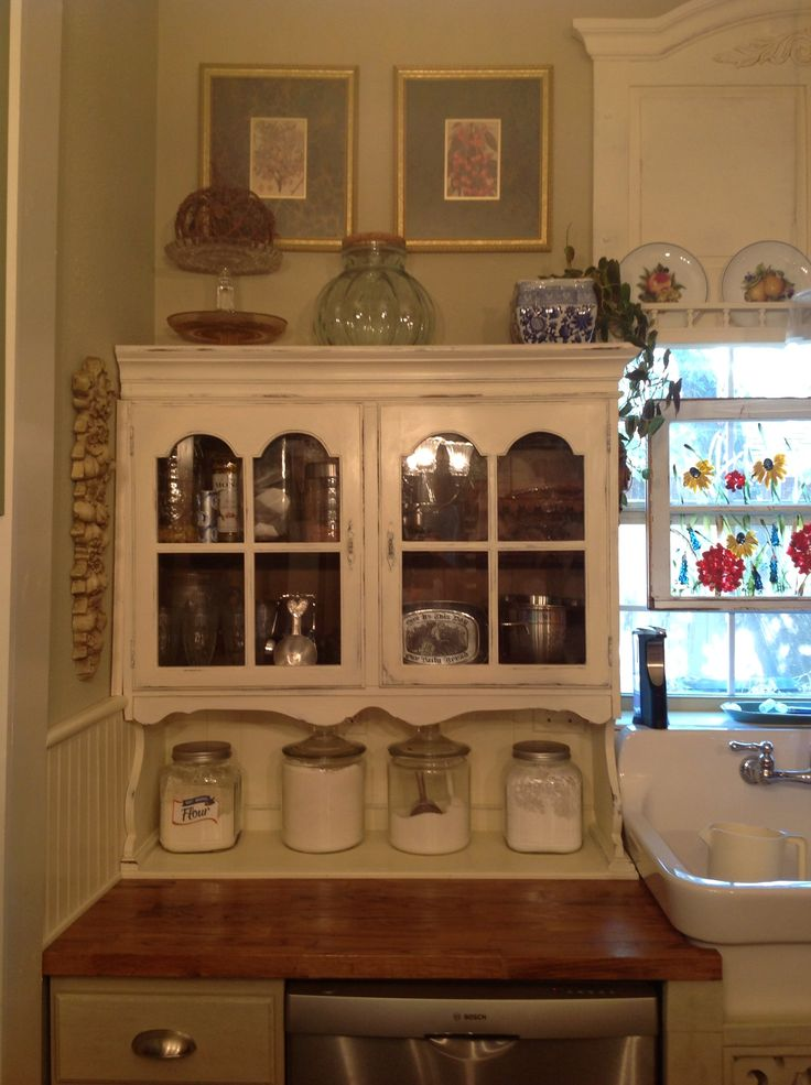 $20 Hutch Top Repurposed To A Cabinet. Hutch Top Found On Craigslist.  Hoosier ...