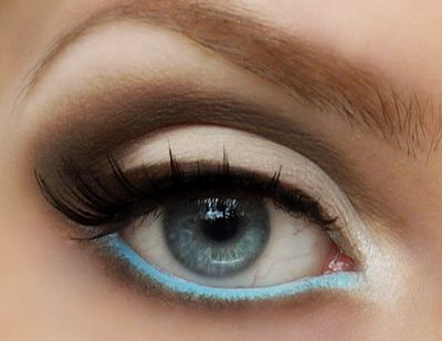 Way to ease into colorBaby Blue, Neutral Eye, Brown Eye, Beautiful, Blue Eye Makeup, Eyemakeup, Eye Liner, Robin Eggs Blue, Blue Eyeliner