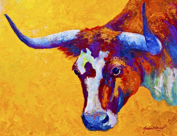 Texas Longhorn Cow Study Painting  - Texas Longhorn Cow Study Fine Art Print