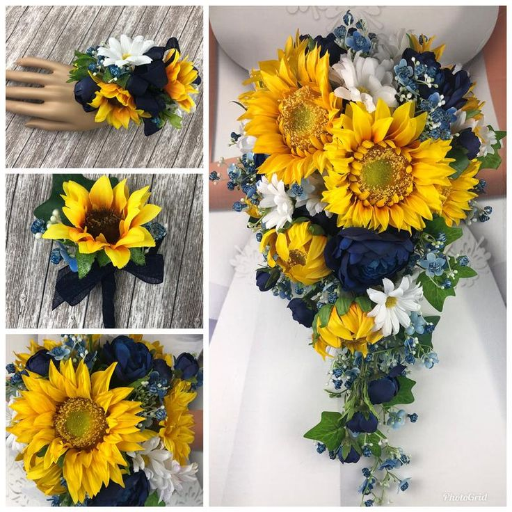 Artificial Navy Sunflower and Daisy Bridal Bouquets Blue