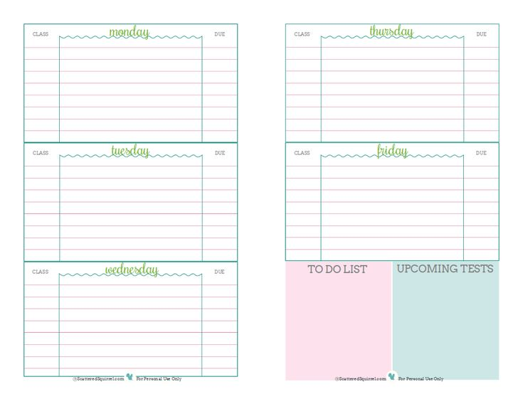 29 best planner ideas images on Pinterest Planner ideas, Student - assignment sheet template