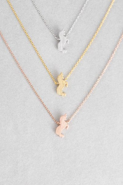 Unicorn Charm Necklace / Available in Silver, Gold, Rose Gold