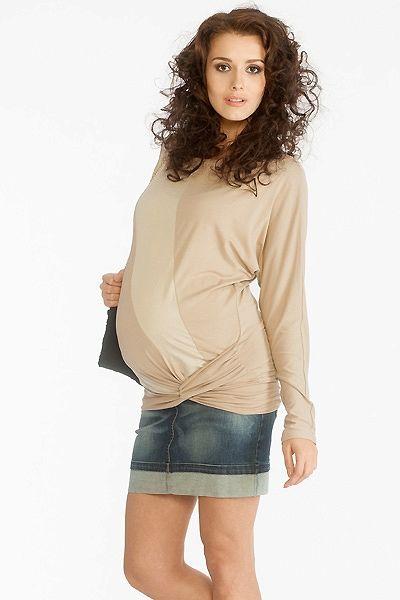 b45d7f6b99c0 Těhotenská modrá riflová sukně krátká Blúzky