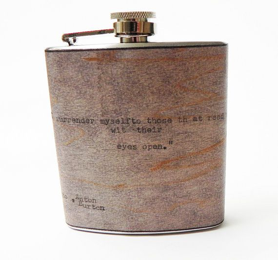 """Steampunk Wood Flask Poetry : """"I Surrender Myself To Those That Read Me With Their Eyes Open"""" Surrealist Manifesto quote by ResoluteStar"""