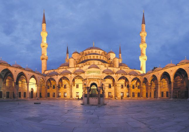 Elegance and history scrape the sky from Istanbul's mosques....