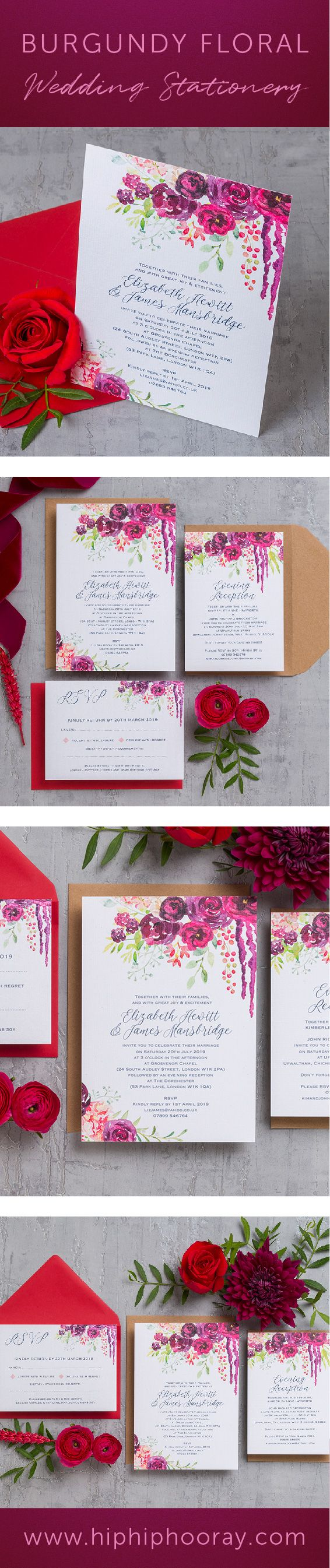 proper response time for wedding rsvp%0A Burgundy floral personalised wedding stationery collection with hand  painted watercolour  watercolor  flowers in shoes of deep pink  marsala   maroon  wine