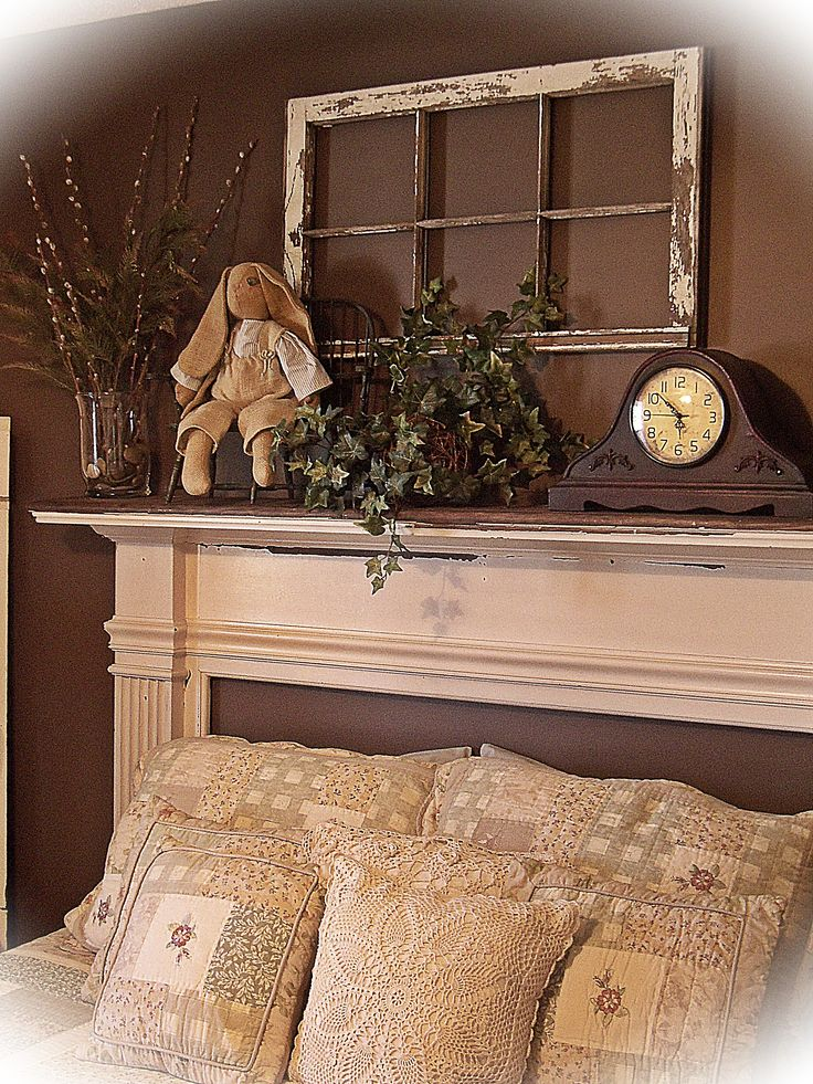 mantle headboard. already have plenty of old windows to use