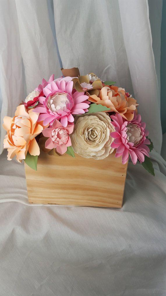 Caja de madera de centro de mesa flores de papel - papel Rosa peonía amapola central - hecho por encargo