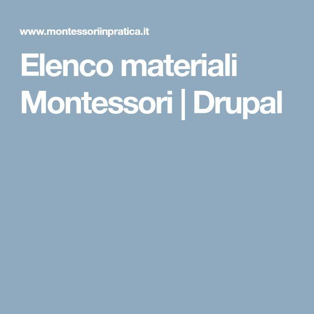 Elenco materiali Montessori   Drupal