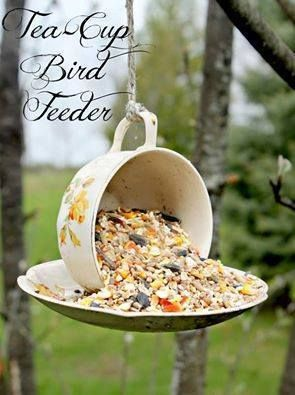 Great DIY Birdfeeder! Easy to make...cup and saucer add some Elmer's glue and you're good to go!!