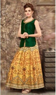 Silk Lehenga Style Readymade Party Wear Dress in Chrome Green Color | FH523079257 #heenastyle , #salwar , #kameez , #suits , #anarkali , #party, #wear , #panjabi , #patiyala , #abaya , #style , #indian , #fashion , #designer , #bridel , #evening , #formal , #office , #deaily , #dupatta , #churidar , #palazo , #plazzo , #nerrow , #pant , #dress , #dresses , #fashion , #boutique , #mode , #henna , @heenastyle , #latest , #gowns , #pakistani , #readymade , #stitched , #plus , #size , #islamic