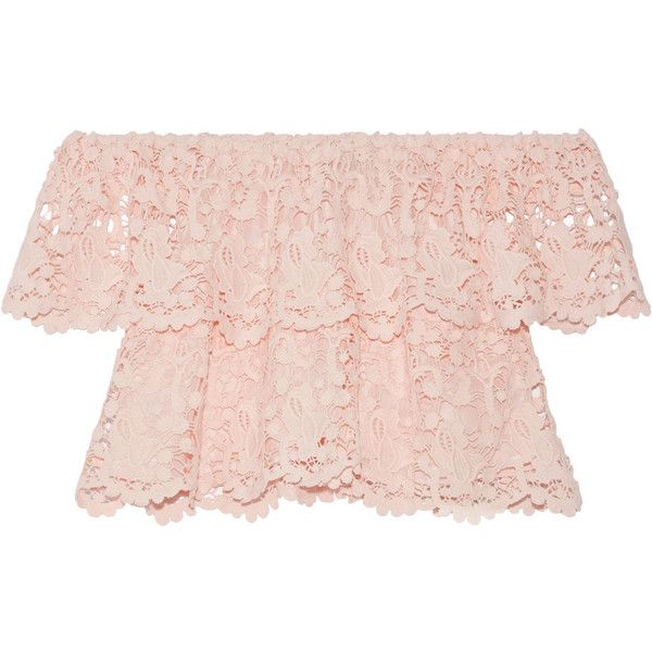 MiguelinaAngelica Off-the-shoulder Layered Cotton-lace Top ($385) ❤ liked on Polyvore featuring tops, pastel pink, beach tops, off the shoulder crop top, pastel crop top, off shoulder tops and scalloped lace top