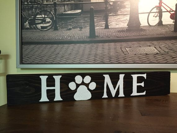 Our custom home paw print signs are made to order for each pet lover. We can customize them with any stain color and letter color as you would