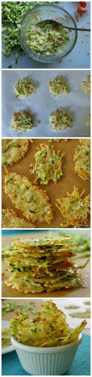 Parmesan Cheese Crisps laced with zucchini and carrot shreds - a low-carb, gluten-free snack recipe by DinnerMom