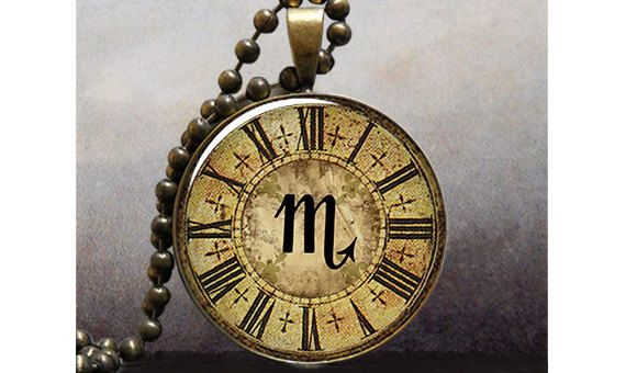 Steampunk Zodiac, Scorpio pendant, Astrology necklace charm, Scorpio jewelry birthday gift. $8.95, via Etsy.